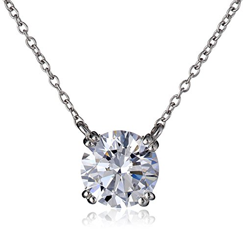 Platinum-Plated Sterling Silver Swarovski Zirconia 3 ct Round Solitaire - 3 Necklace Silver Stone Sterling