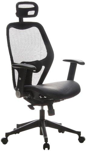 hjh OFFICE 653010 silla de oficina AIR-PORT tejido de malla / piel negro, apoyabrazos plegables, soporte lumbar, apoyacabezas, inclinable, sillón alta gama: ...