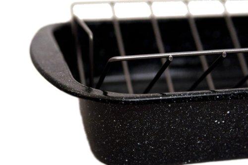Granite Ware 0564 Open Rectangle Roaster with Non-Stick V-Rack, 19-Inch