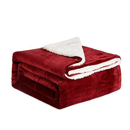 NEWSHONE Sherpa Throw Blanket Flannel Fleece Throw Blanket for Sofa Couch Warm Cozy Microfiber Reversible Plush Soft Warm Fuzzy Throw(60x 80 inches, Dark Red)