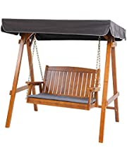 Outdoor Swing Chair, Gardeon 2 Seater Garden Hanging Chair Wooden Bench Outdoor Furniture with Canopy and Removable Cushion-Teak