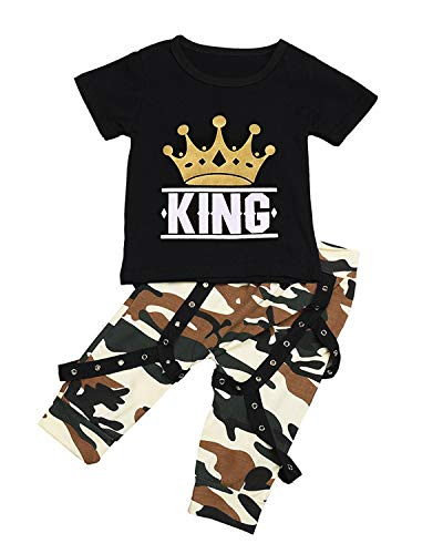 Newborn Baby Boys Short Sleeve King Print T-Shirt Tops+ Camouflage Pants Outfit Set (Black, 0-6 Months) -