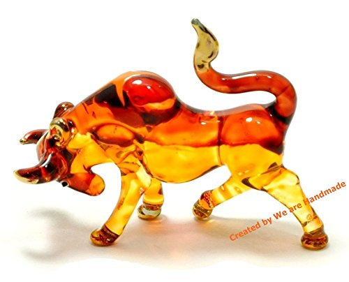 - Handmade Mini Bull Art Glass Blown Wild Animal Figurine - Collection Y2016