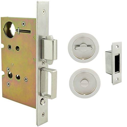 INOX FH22PD8440-234-15 Mortise Pocket Door Privacy Lock with 2-3/4-Inch Backset, Thumb Turn and Coin Turn, Satin Nickel