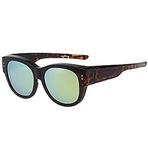 CAXMAN Oversized Lens Cover Sunglasses Mirrored Polarized Lens for Prescription Glasses, Tortoise Frame and Light Gold Mirror Lens, Size 56 mm