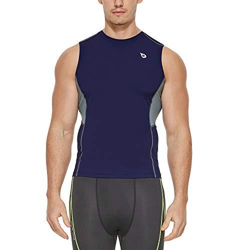 Baleaf Men's Sleeveless Compression Shirt Workout Training Base Layer Muscle Tank Top Navy/Grey XL ()