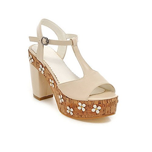 AllhqFashion Women's Open Toe High-Heels Buckle Soft Material Solid Sandals apricot PMUCW1zC