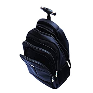 """Little World IT Wheeled Backpack Lightweight Portable Carry-on Luggage with Removable Roller Frame for Traveling Business 16"""" Laptop Black"""