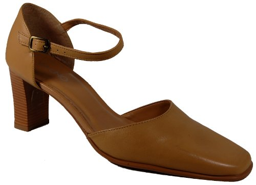 Via Uno ladies leather ankle strap shoe Brown ail1XncL4H