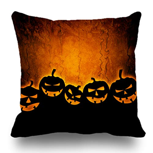 Really Scary Halloween Backgrounds (Batmerry Halloween Pillow Covers 18x18 inch,Halloween October Scary Party Orange Black Backdrop Fall Night Dark Throw Pillow)