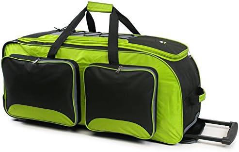 """Fila 32"""" Lightweight Rolling Duffel, Neon Lime, One Size"""