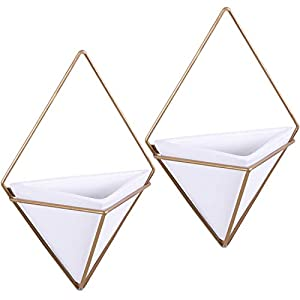 MyGift Modern Triangular White Ceramic Hanging Wall Planters with Metal Frames, Set of 2