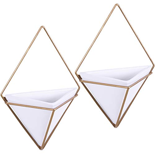 (MyGift Modern Triangular White Ceramic Hanging Wall Planters with Metal Frames, Set of)