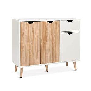 Meerveil – Buffet – Meuble de Rangement, Scandinave 3 Portes 1 Tiroir, Convient pour Salon Cuisine Salle à Manger, Chêne…