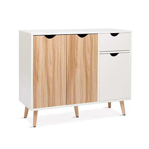 Meerveil Sideboard, Cupboard Storage Cabinet with 3 Doors and 1 Drawer Modern Free Standing Wooden 90x 74x 30cm for…