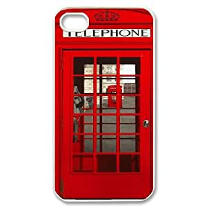 Personalized iPhone 4,4G,4S Case, Red London Telephone Box Kiosk Booth quote DIY Phone Case