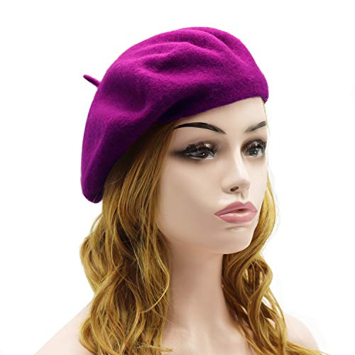 French Purple Small Hat - Wheebo Wool Beret Hat,Solid Color French Style Winter Warm Cap for Women Girls (Cranberry)