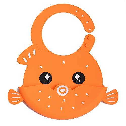TUOKING Waterproof Silicone Baby Bibs with Pocket for Babies and Toddlers, Easy to Clean, Foldable and Soft (Puffer Fish-Orange) ()