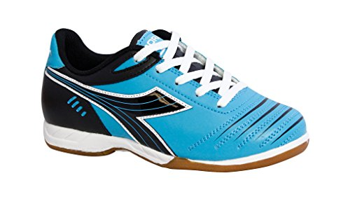 Image of Diadora Kids' Cattura ID JR Indoor Soccer Shoes (5 Big Kid M, Columbia Blue/Black)