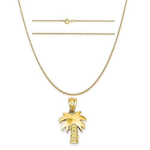 14k Yellow Gold Palm Tree Charm on a 14K Yellow Gold Carded Rope Chain Necklace, 20