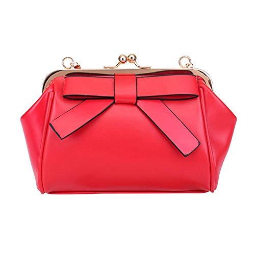 Clutch Bowknot Red Women Shoulder Handbag Wedding Purse Chain Party Vintage HOSPORT Bag Evening 7pq8WYdq1