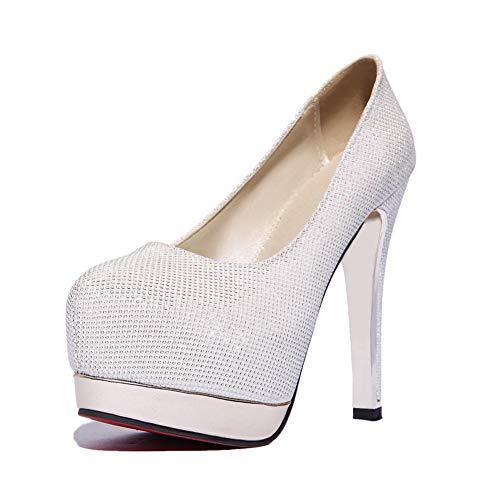 Pumps Shoes Womens White Studded Dress BalaMasa Urethane Platform APL10799 RUqCnwX