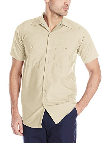 Red Kap Men's Size Industrial Work Shirt, Regular Fit, Short Sleeve, Light Tan, Large/Tall (Lh Sleeve)