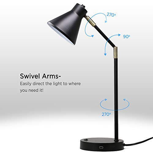 O'Bright LED Desk Lamp with USB Charging Port, 100% Metal Lamp, 270° Flexible Swivel Arms, Soft White LED Reading Light (3000K), Bedside Reading Lamp, Office Lamp, Table Lamp, ETL Listed, Black by O'Bright (Image #2)