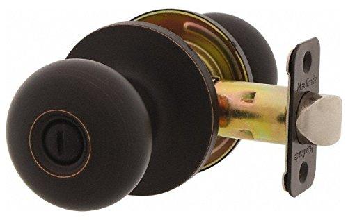 1-3/8 to 1-3/4'' Door Thickness, Antique Bronze Privacy Knob Lockset, 2-3/8 to 2-3/4'' Back Set, Zinc, No Cylinder