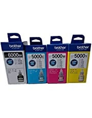 زجاجات حبر براذر 4 قطع باللون الأسود BT6000 لطابعات حبر أزرق سماوي من أجل DCP - T300,T500,T700W,T800W