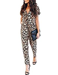 NANYUAYA Women's Leopard Jumpsuit Casual V Neck High Waist Button Romper Playsuit with Pockets