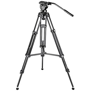 Neewer Professional 61 inches/155 centimeters Aluminum Alloy Video Camera Tripod with 360 Degree Fluid Drag Head,1/4 and 3/8-inch Quick Release Plate and Bubble Level,Load up to 26 pounds/12 kilograms