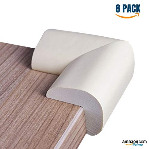 Foam Corner Protectors | Foam Caring Corner Guards by The Hamptons Baby | Safety Furniture Bumpers | Long Lasting, Pre-Applied Adhesive | Sharp Corner Cushions (White)