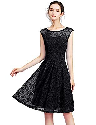 Bbonlinedress Women's Vintage Floral Lace Sleeveless Bridesmaid Dress Formal Cocktail Party Swing Dress