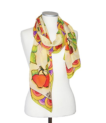Womens Silk Scarf Hand Painted Pastel Yellow Colorful Apples Shawl For Her One Of A Kind by AstaSilkWorld