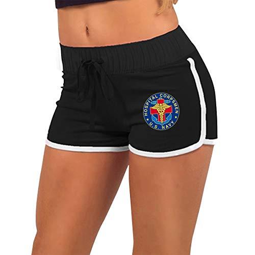 LYBYUB US Navy Hospital Corpsman Women's Workout Shorts,Casual Fashion Waist Drawstring Yoga Shorts