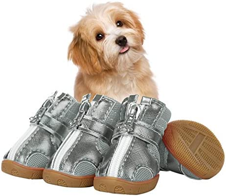 SUNFURA Breathable Dog Boots, Outdoor Dog Shoes with Wateproof Anti-Slip Durable Sole and Adjustable Straps, Puppy Paw Protector with Zips for Small Dogs Hiking Running Walking