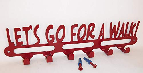 Dog Leash Holder Hanger Hook. Let's Go For A Walk. Handmade in USA. Cherry Red. 14 inches Wide.