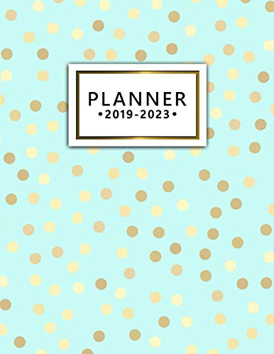 2019-2023 Planner: Gold Polka Dots Turquoise 5 Year Planner with 60 Months Spread View Calendar. Cute Five Year Agenda, Organizer, Journal and Business Schedule ()