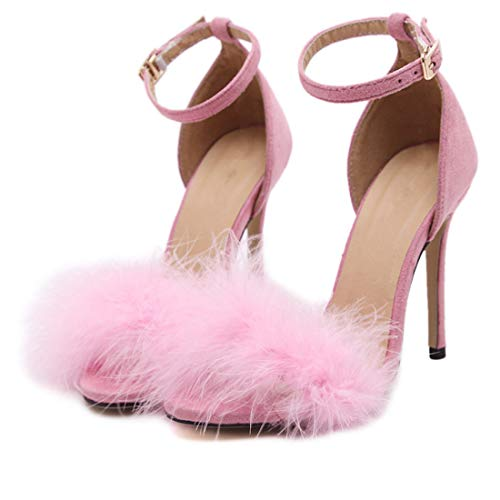 Pink Feather Shoes (YIBLBOX Women's Fluffy Feather Open Toe Ankle Strap Strappy Sandal Stiletto Wedding Dress High Heel Shoes)