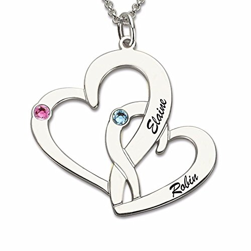 (Personalized Intertwined Hearts Birthstone Necklace Engraved Silver Two Double Heart Necklace Gift Silver 16.0inches)