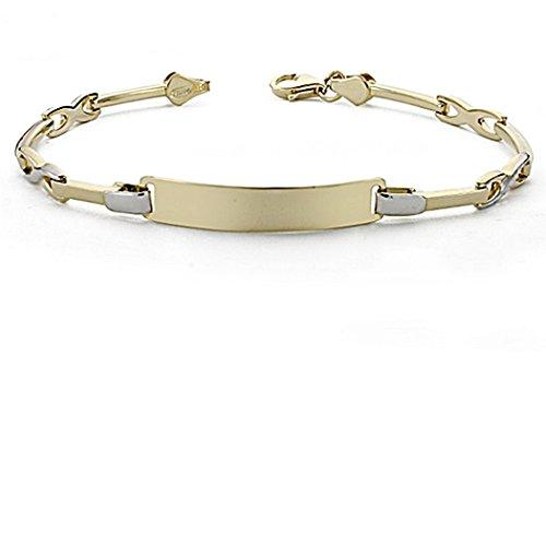Gourmette 18k gold 18cm bicolor. sections semi-rigides [8048GR] - personnalisable - ENREGISTREMENT inclus dans le prix