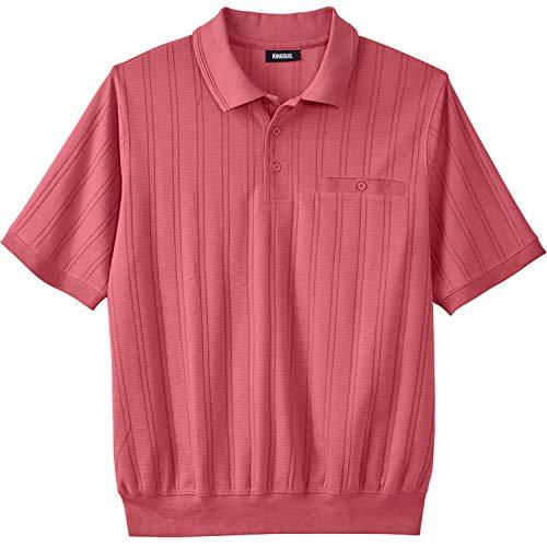 (KingSize Men's Big & Tall Banded Bottom Textured Polo Shirt, Dark Salmon Big-2XL )