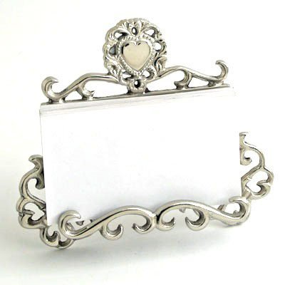 Nickel Victorian Business Card Holder with Heart