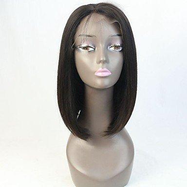 pelucas de cabello humano sin cola pelo virginal de encaje completa bob para la mujer negro