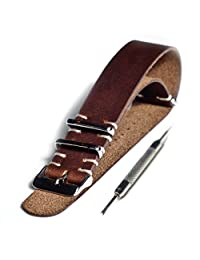 22mm Genuine Leather Vintage Style NATO Watch Strap with Stainless Hardware plus FREE Spring Bar Tool (brown)