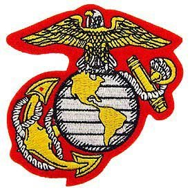 USMC Marine Embroidery Iron On Patch - Globe Eagle & Anchor Crest Applique