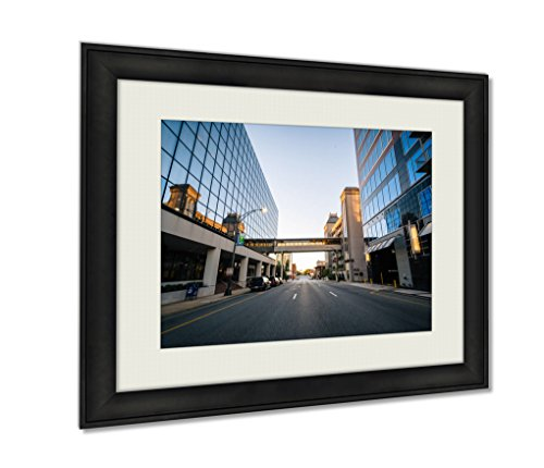 Ashley Framed Prints, Modern Buildings And Friendly Avenue In Downtown Greensboro No, Black, 24x30 Art, - Center Friendly The Greensboro