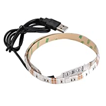 SODIAL(R) LED Light Strip Waterproof IP65 1M 30leds with Controller USB Cable Port for TV/ PC/ Laptop Background Car Interior Decoration Flexible LED Ribbon Light