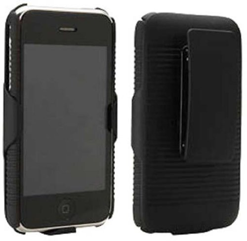 - NEW BLACK RUBBERIZED HARD CASE + BELT CLIP HOLSTER FOR APPLE iPHONE 3G 3GS PHONE